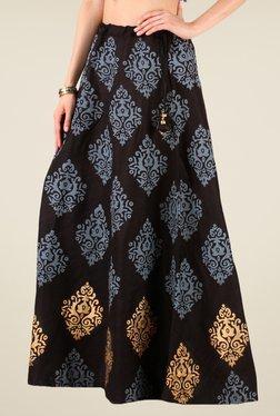 Studio Rasa Black Bhagalpuri Dupion Hand Block Print Skirt