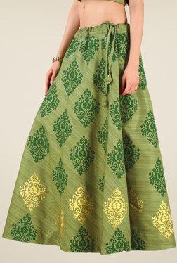 Studio Rasa Olive Bhagalpuri Dupion Hand Block Print Skirt