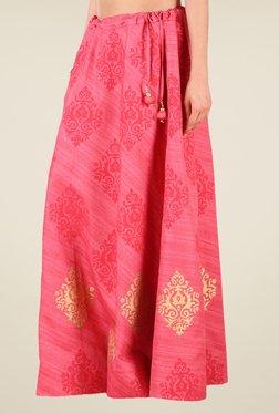 Studio Rasa Pink Bhagalpuri Dupion Hand Block Print Skirt