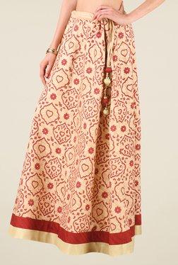 Studio Rasa Beige Bhagalpuri Dupion Printed Skirt