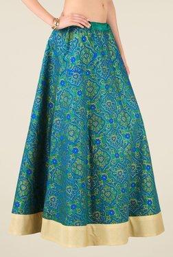 Studio Rasa Green Bhagalpuri Dupion Printed Skirt