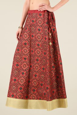 Studio Rasa Maroon Bhagalpuri Dupion Printed Skirt