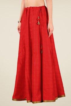 Studio Rasa Red Bhagalpuri Dupion Kalidaar Skirt