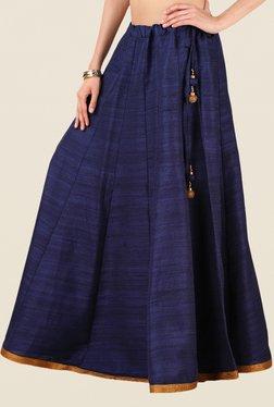 Studio Rasa Navy Bhagalpuri Dupion Kalidaar Skirt