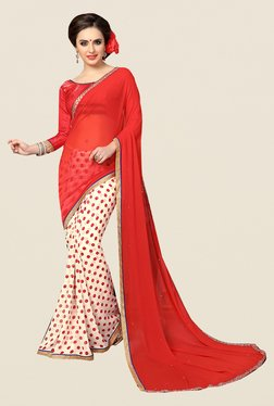 Ishin Off White & Red Polka Dots Faux Georgette Saree