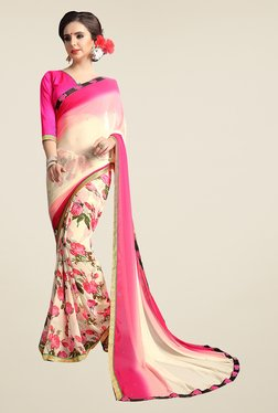 Ishin Off White & Pink Floral Print Faux Georgette Saree