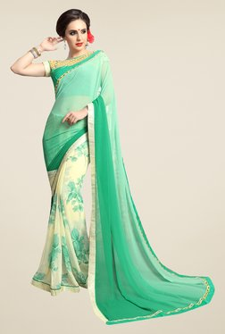 Ishin Off White & Green Floral Faux Georgette Saree