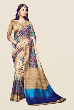 Ishin Beige Floral Print Bhagalpuri Art Silk Saree