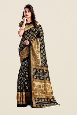 Ishin Black & Beige Printed Bhagalpuri Art Silk Saree