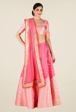 Studio Rasa Pink Bhagalpuri Semi Brocade Lehenga Set