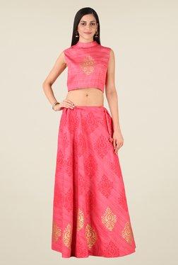 Studio Rasa Pink Bhagalpuri Hand Block Print Lehenga Set
