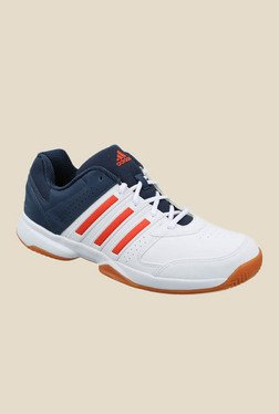 Adidas Acosta In White & Navy Indoor Court Shoes