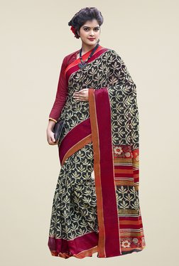 Ishin Black Printed Cotton Saree