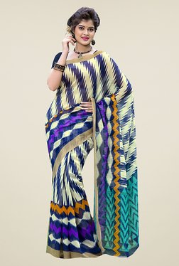 Ishin Beige & Blue Printed Cotton Saree