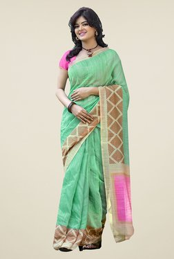 Ishin Green Printed Cotton Saree