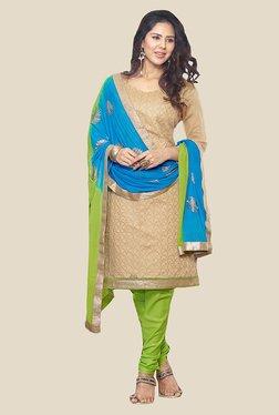 Anbazaar Beige & Green Chanderi Cotton Dress Material