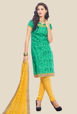 Anbazaar Green & Yellow Chanderi Cotton Dress Material