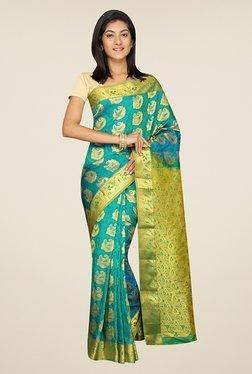 Pavecha's Blue Printed Silk Kanjivaram Saree