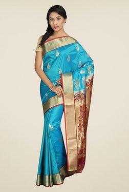 Pavecha's Sky Blue Printed Silk Kanjivaram Saree
