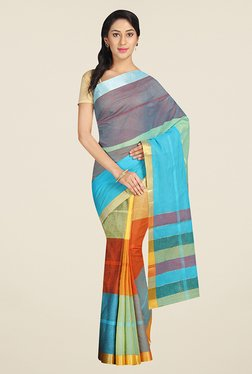 Pavecha's Multicolor Striped Cotton Mangalagiri Saree