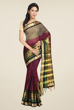 Pavecha's Magenta & Grey Solid Cotton Mangalagiri Saree