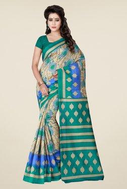 Shonaya Beige & Teal Printed Bhagalpuri Art Silk Saree