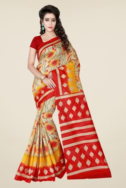 Shonaya Beige & Red Printed Bhagalpuri Art Silk Saree