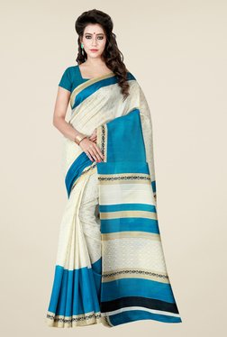 Shonaya Beige & Blue Printed Bhagalpuri Art Silk Saree