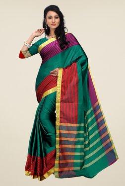 Shonaya Green Striped Cotton Art Silk Saree