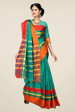 Shonaya Teal Striped Cotton Art Silk Saree