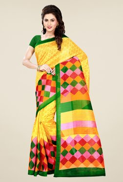Shonaya Yellow Printed Bhagalpuri Art Silk Saree