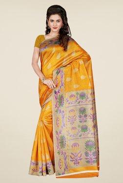 Shonaya Yellow Printed Bhagalpuri Art Silk Saree