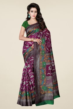 Shonaya Purple Printed Bhagalpuri Art Silk Saree