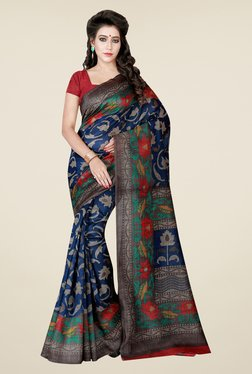 Shonaya Blue Printed Bhagalpuri Art Silk Saree