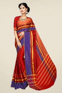 Shonaya Red Striped Cotton Art Silk Saree
