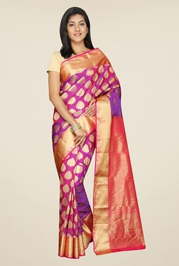 Pavecha's Purple & Pink Printed Silk Kanjivaram Saree