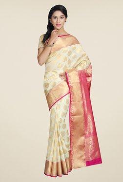 Pavecha's Off White & Pink Printed Silk Kanjivaram Saree