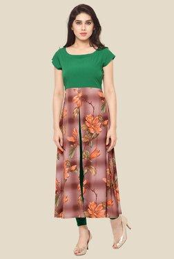 Ahalyaa Green & Maroon Floral Print Kurta