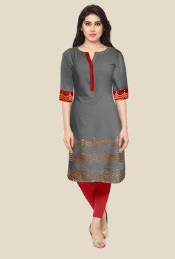 Ahalyaa Grey Printed Kurta