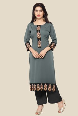 Ahalyaa Grey Embroidered Kurta