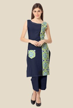 Ahalyaa Green And Navy Floral Print Kurta