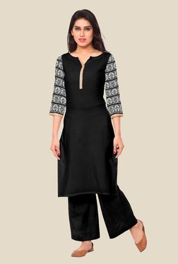 Ahalyaa Black & White Solid Kurta