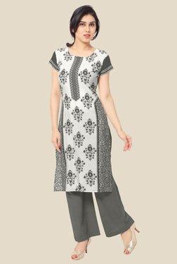 Ahalyaa White & Grey Floral Print Kurta