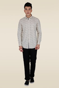 Lawman Beige Printed Casual Shirt