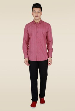 Lawman Maroon Full Sleeve Party Shirt