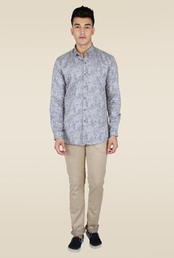 Lawman Grey Printed Party Shirt