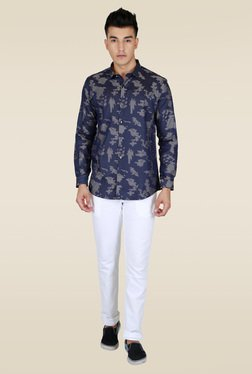 Lawman Navy Slim Fit Party Shirt