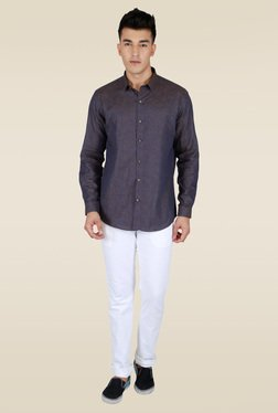 Lawman Navy Printed Party Shirt