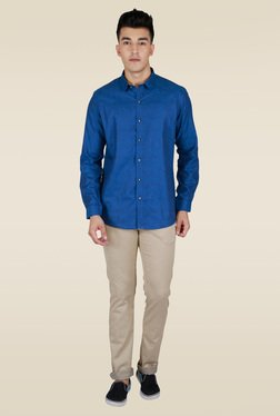 Lawman Blue Full Sleeve Party Shirt