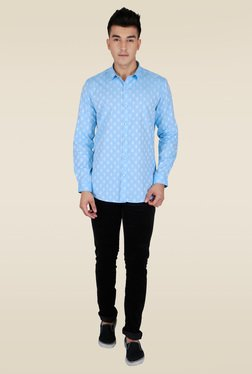 Lawman Turquoise Printed Full Sleeve Shirt